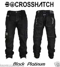 "NEW MENS DESIGNER CROSSHATCH PLATINUM"" BLACK"" CARGO STYLE CLASSIC FIT JEANS"