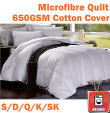 Machine Washable 650GSM Winter Weight Microfibre Quilt Doona Duvet Cotton Cover