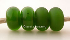 5 MYSTIC GREEN * donut handmade lampwork glass spacer beads TANERES sra