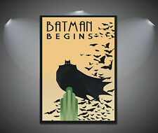 Batman Begins Dark Knight Movie Vintage Art Deco Poster - A1, A2, A3, A4 sizes