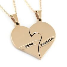 Gold Mother Daughter Necklace Heart Gold Purity Pendant Infinity Necklace (2pcs)