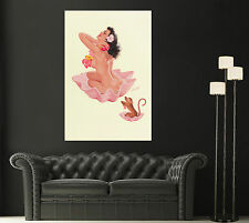 1911 Vintage BILL RANDALL Monkey See-Monkey Do Pin Up Girl Giclee Canvas Print s