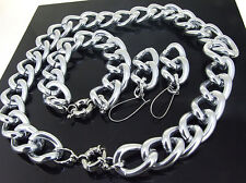 "17""18""-36"" SMOOTH SILVER GOLD ALUMINIUM CURB LINK CHAIN NECKLACE BRACELET CHOKER"