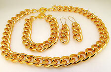 "17"" 18""20""-30""14X19MM CUT SHINY GOLD ALUMINIUM CURB LINK CHAIN NECKLACE BRACELET"