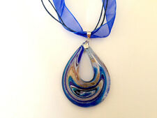 Teardrop silver foil  lines lampwork murano pendant with Organza necklace