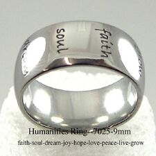 Faith Hope Dream Love Peace Joy Ring Humanities Stainless Steel 9 MM Inspiration