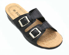 Women's Summer Casual Double Adjustable Buckle Comfort Sandals Shoes Black New!
