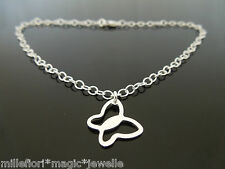 """3mm Sterling Silver Bracelet Or Ankle Chain Butterfly Charm 7"""" 8"""" 9"""" 10"""" 11"""""""