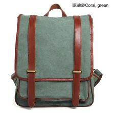 Canvas Men Outdoor Travel Bag Women Backpack School Bag Rucksack Leather MC6831
