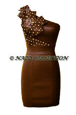 BRONZE TAFFETA ONE SHOULDER DIAMANTE & SEQUIN BUST DETAIL PENCIL DRESS 8-14