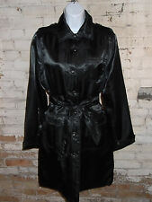Satiny Trench Coat New Gold or Black Belted Quilted Lining 3 Season