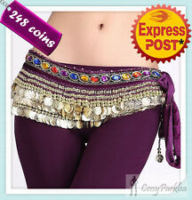 Belly Dance Costume 248 Gold Coins Hip Scarf Belt  Faux Gemstone Dancewear
