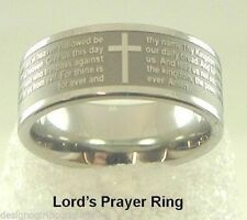 Lords Prayer Stainless Steel Ring Our Father Cross High Quality Christian 5-13