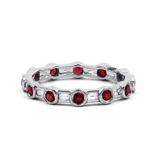 New 18 Carat White Gold Ruby & Diamond Full Eternity Band 0.42ct 3mm