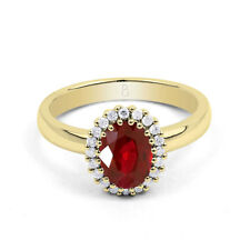Natural 18K Yellow Gold Ruby & Diamond Halo Engagement Ring 0.16ct All Sizes