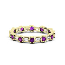 18ct Yellow Gold Amethyst & Diamond Full Eternity Ring Band 0.42ct 3mm