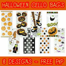 20 CELLO HALLOWEEN CELLOPHANE BAGS SWEETS TRICK or TREAT GOODIES - 8 STYLES