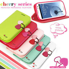 DER® CHERRY LEATHER FLIP WALLET STAND CASE COVER FOR SAMSUNG GALAXY S3 III I9300
