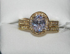 Seventh Avenue Oval Frame Cubic Zirconia Bridal Set Rings NEW IN BOX GOLD TONE