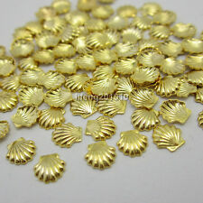 100pcs Gold Silver Alloy Metal Shell Beads For Nail Art Studs Decoration Craft