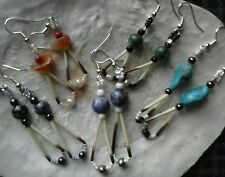 PICK YOUR GEMSTONES/Quill,TEARDROP SHAPED Native American earrings -MADE IN USA