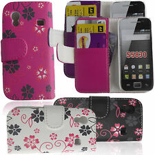 NEW FLOWER PRINT FLIP WALLET MONEY AND CARD CASE FOR SAMSUNG ACE S5830 S5830i