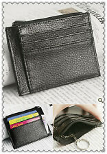 Real leather Thin Zip Style Credit card ID Card Coins key holder small wallet
