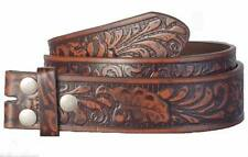 Brown Embossed Western Bonded Leather PU Snap On Belt Strap