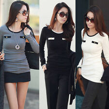 Women Blouse Top Mini Dress Crewneck Casual Cotton Long T-Shirts Bottoming Shirt