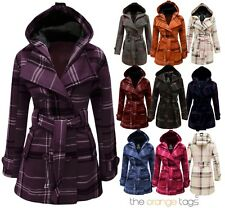 NEW LADIES BELTED BUTTON MILITARY CHECK COAT WOMENS HOODED WINTER JACKET 8-20