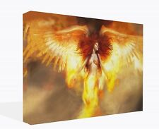 FANTASY Rising Fire Angel Wings Canvas Print Framed Art Picture Print