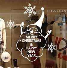 Hand Carvin Merry Christmas Happy New Year Snowflake Snowman window Wall Stickes