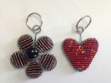 Grass Roots Beaded Handcrafted NEW Keychains, Purple Daisy, Heart ! Great Gift!