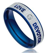 Blue Love Devotio Ring 316L Stainless Steel CZ Inlay Wedding Band Men's Jewelry