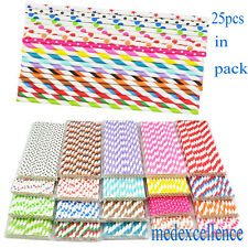 25 x STRIPED PAPER DRINKING STRAWS-RAINBOW MIXED FOR PARTY TABLE DECORATIONS
