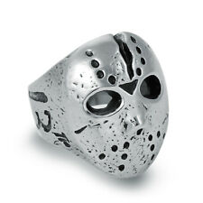 316L Stainless Steel Mens Punk Friday 13th Jason Mask Biker Ring D025 Size 8-11