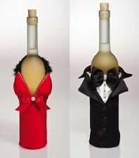Cypress Home Dressed Up Wine Bottle Cover in Tux or Red Dress with Marabou