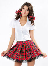 Naughty School Girl Fancy Costume Red Mini Skirt Adult White Top Sexy Hens Party