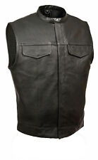 SOA Men's Anarchy Style Leather Outlaw Biker Club Vest With Snap Front Collar