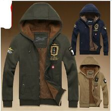 2013 new winter fashion men's air force jackets warm hooded cardigan sweater#1