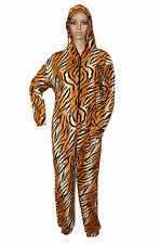 SEXY WOMEN LADIES TIGER PRINT ONESIE JUMPSUIT SIZE 8/10 ,12/14