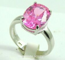 Womans Ring Large Pink Tourmaline 12K CZ Sterling Silver Size 5 6 7 8 9 10