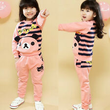 Child Girls Kids Striped Tracksuit Cartoon Bear Sweatshirt Tops Lovely Pants 1R6