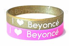 I Love Beyonce Siicone Rubber Wristbands (Pink & Gold) - Free UK Postage!