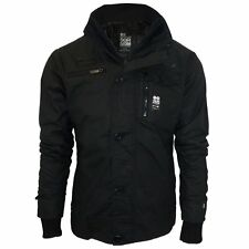 Men's Crosshatch Vixxie New Coated Padded Jacket Double zip ribbed winter coat