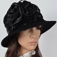 Classy Lady Cloche Church Dress Wool Hat Bucket Winter Decorative Floral Hat