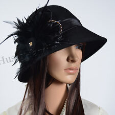Chic Lady Wool Church Dress Cloche Hat Feather Style Bucket Winter Hat #026M