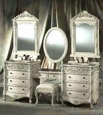 "87"" Double Bath Vanity Set with Makeup Counter, Seat, and Faucets - Cristina-87F"