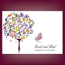 Personalised Wedding Day Evening Invitations Invites + Envelopes Butterfly Tree