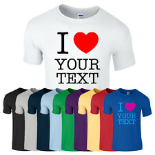 MENS PERSONALISED T-SHIRT GIFT CUSTOM TEXT I LOVE HEART T SHIRT PRESENT S-XXL